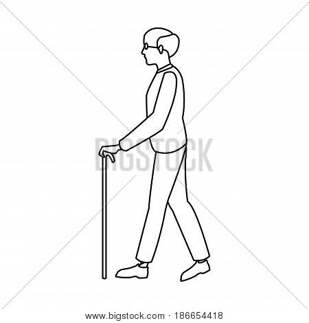 bald man elderly walking with cane stick outline vector illustration