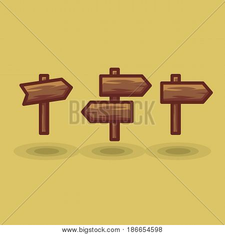 Vector icon tourist arrow signposts road to right and left. Illustration wooden direction signs show direction in different directions isolated flat