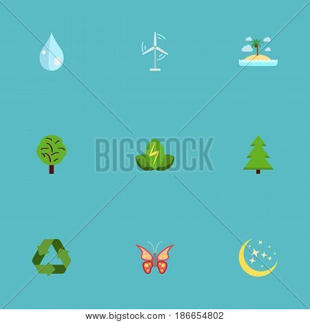 Flat Isle Beach, Eco Energy, Conservation And Other Vector Elements. Set Of Eco Flat Symbols Also Includes Eco, Conservation, Butterfly Objects.