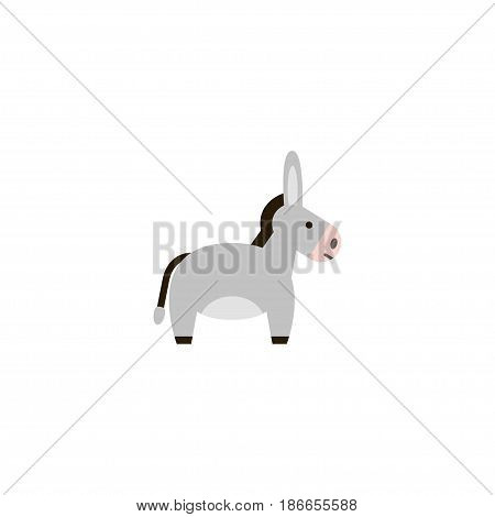 Flat Donkey Element. Vector Illustration Of Flat Jackass Isolated On Clean Background. Can Be Used As Donkey, Jackass And Horse Symbols.