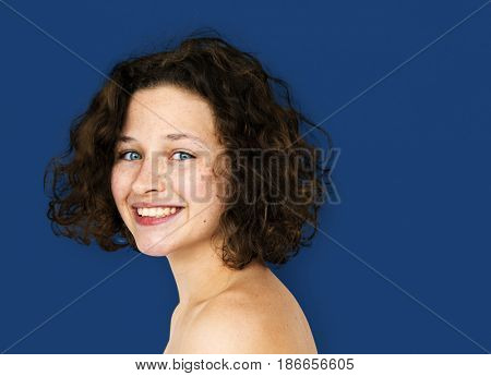 Young Adult Woman Topless Studio Portrait poster