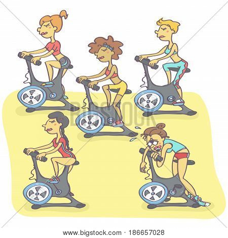 Funny vector cartoon with group of women exercising on stationary bikes, one is exhausted