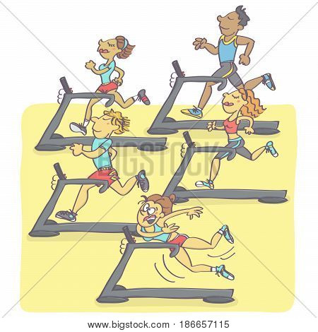 Funny vector cartoon with group of people jogging on running machines, one woman falling all in stress