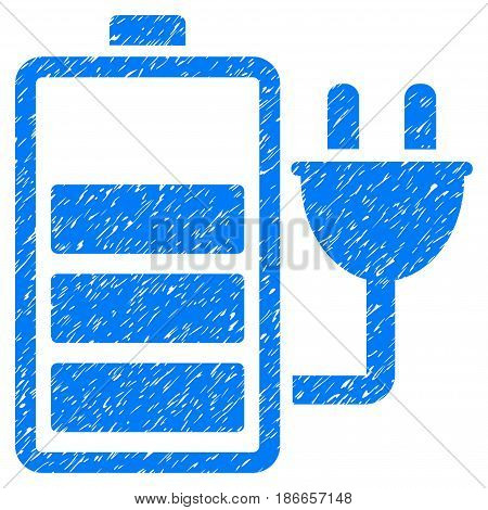 Grunge Charge Battery icon with grunge design and unclean texture. Unclean vector blue pictogram for rubber seal stamp imitations and watermarks. Draft sticker symbol.