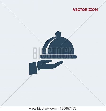 covered food tray on a hand of hotel room service Icon, covered food tray on a hand of hotel room service Icon Eps10, covered food tray on a hand of hotel room service Icon Vector, covered food tray on a hand of hotel room service Icon Eps