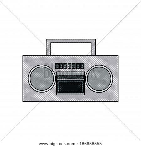 drawing stereo radio music play retro vector illustration