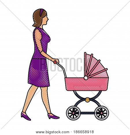 drawing mother with baby carriage vector illustration