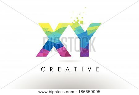 Xy X Y Colorful Letter Origami Triangles Design Vector.