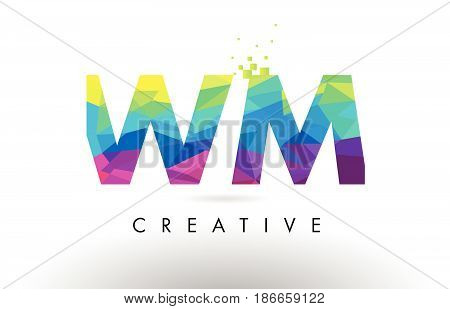 Wm W M Colorful Letter Origami Triangles Design Vector.