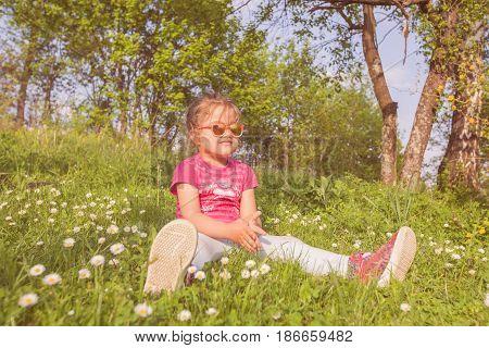 Spring Portrait Happy Little Girl