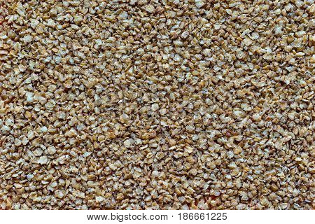 the textured background from granular flakes of buckwheat groats of an abstract form