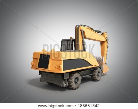 Yellow Wheels Bulldozer 3D Render On Grey