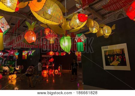 ZHONGSHAN GUANGDONG CHINA-Oct 5 2016:different lanterns hanging in an exhibition for the Chinese Mid Autumn Festival in ZhongshanGuangdongChina.
