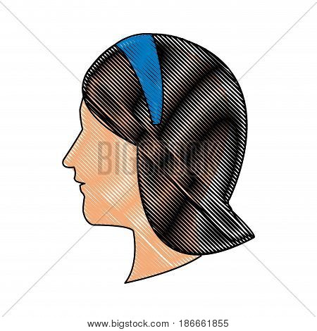drawing head profile young woman blue headband vector illustration