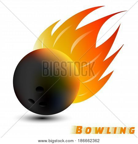 Bowling ball with red orange yellow tone fire in the white background. sport ball logo design. Bowling ball logo. Bowling logo club. vector. illustration. graphic design.