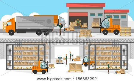Loading process in storehouse banner. Distribution business vector illustration with freight truck near storage. Commercial freight service, shipping company, cargo delivery and logistics poster.