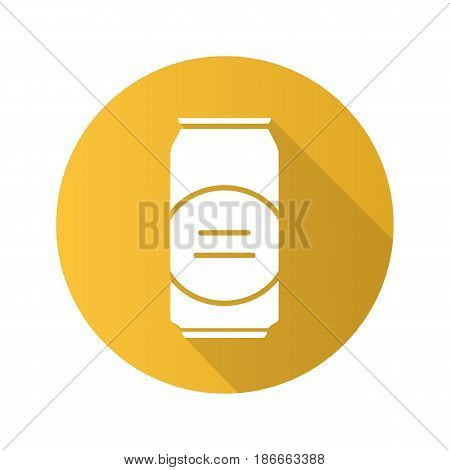 Beer can flat design long shadow icon. Vector silhouette symbol