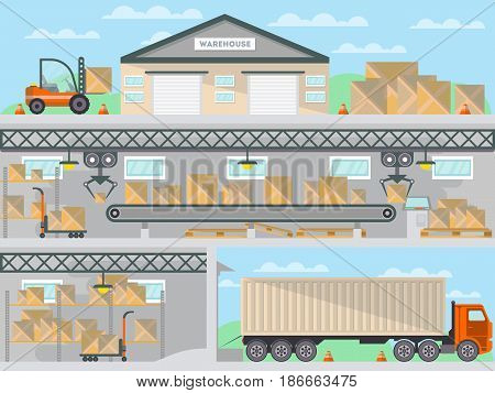 Commercial freight service business banner. Loading in storehouse vector illustration with freight truck and forklift. Goods distribution, shipping company, cargo delivery and logistics.