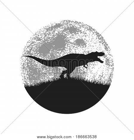 Silhouette of the tyrannosaur on full moon background.Vector illustration