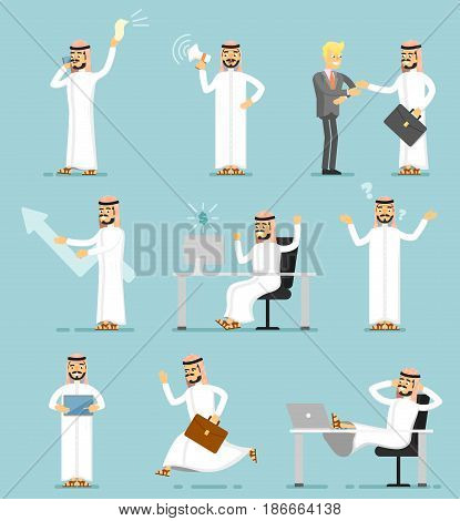 Muslim businessman isolated character set. Arabian man in traditional clothing in different gestures, poses and actions vector illustration. Office working, business communicate, project presentation