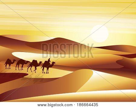 Landscape background desert with dunes, barkhans and caravan of camels vector illustration