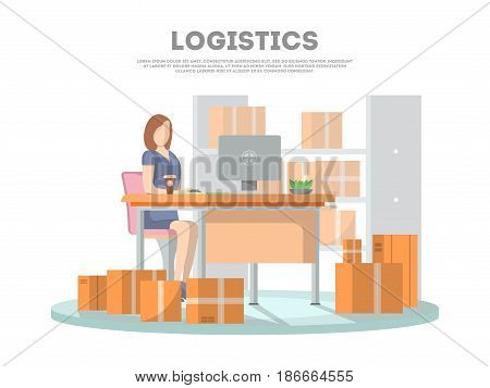 Logistics poster with services operator coordinating cargo transportation. Goods shipping, cargo delivery. Postal service and distribution, freight transportation company vector illustration concept