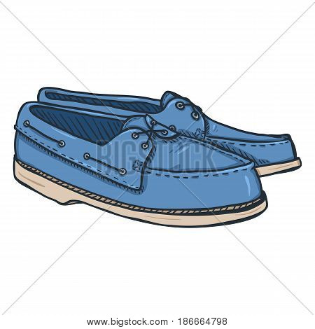 Vector Cartoon Illustration - Pair Of Topsider Men Shoes On White Background