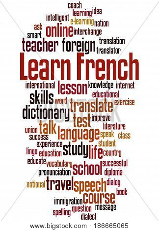 Learn French, Word Cloud Concept