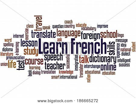 Learn French, Word Cloud Concept 4