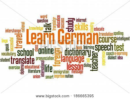 Learn German, Word Cloud Concept
