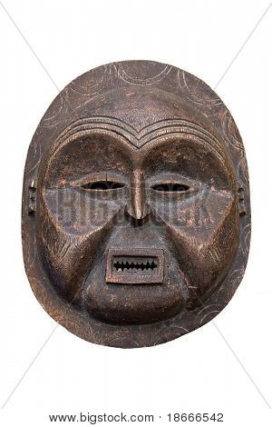 Handmade antique african mask, contain clipping paths, Ndebele tribe, Bulawayo, Zimbabwe poster