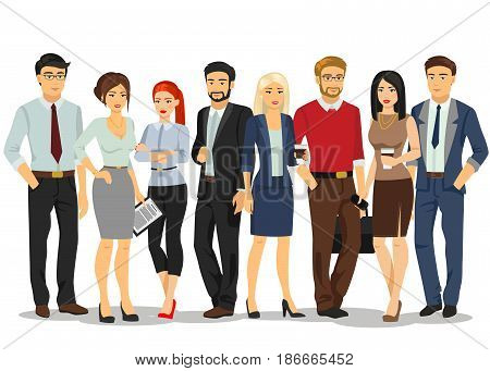 Office people. Business people men and women with documents. People in formal business clothes suits. Vector illustration