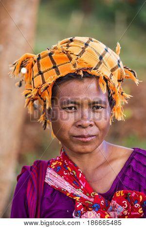 KALAW, MYANMAR - DECEMBER 07, 2016 : woman Shan tribe portrait  near Kalaw in Myanmar (Burma)