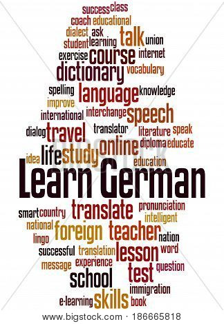 Learn German, Word Cloud Concept 5