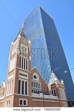 Town Hall in Perth Australia and modern skyscraper