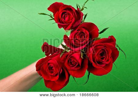 hand offering a bunch of roses, heart shape, general situations, anniversaries, weddings, birthdays, romance design elements series