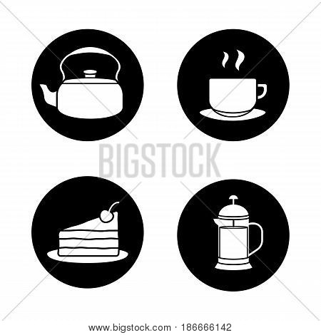 Tea and coffee icons set. Kettle, steaming cup on plate, chocolate cake, french press. Vector white silhouettes illustrations in black circles