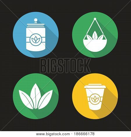 Tea flat design long shadow icons set. Loose tea leaves in bulk, disposable paper cup, container. Vector silhouette illustration