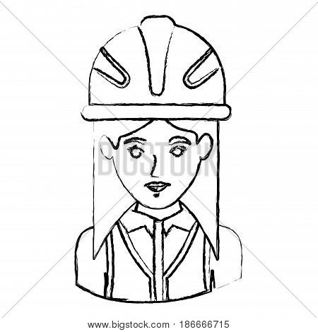 monochrome blurred contour with half body of female architect with helmet vector illustration