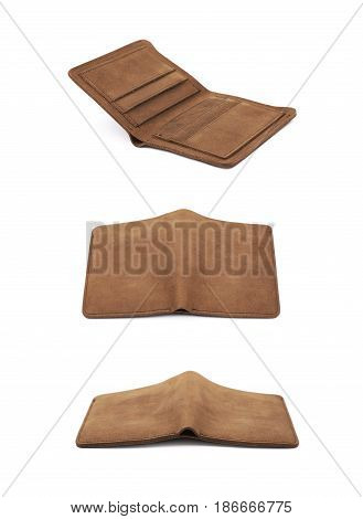 Flat foldable brown leather wallet isolated over the white background, set of three different foreshortenings