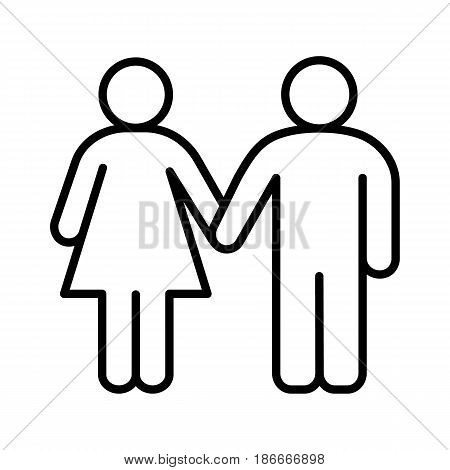 Heterosexual couple linear icon. Thin line illustration. Man and woman holding hands contour symbol. Vector isolated outline drawing