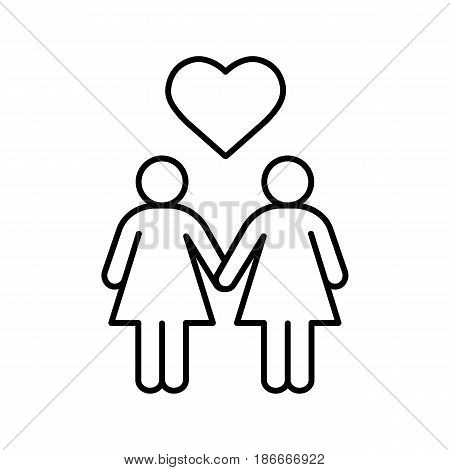 Lesbian couple linear icon. Thin line illustration. Lesbian girls with heart shape above contour symbol. Vector isolated outline drawing