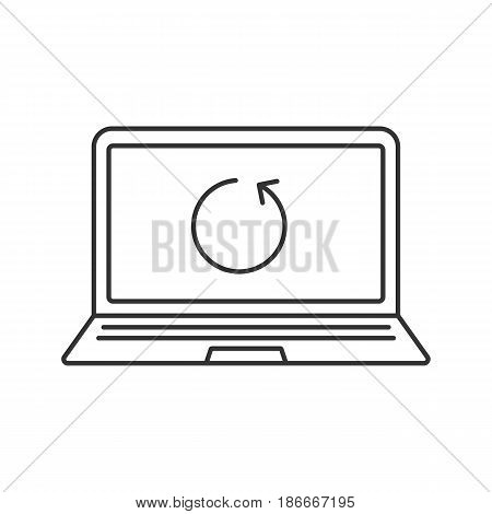 Laptop restart linear icon. Thin line illustration. Notebook with cycling arrow contour symbol. Reboot. Vector isolated outline drawing