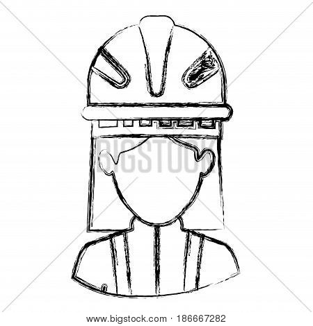 monochrome blurred contour with half body of faceless female firefighter vector illustration