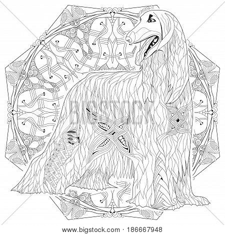 Hand-painted art design. Adult anti-stress coloring page. Black and white hand drawn illustration afghan hound for coloring book