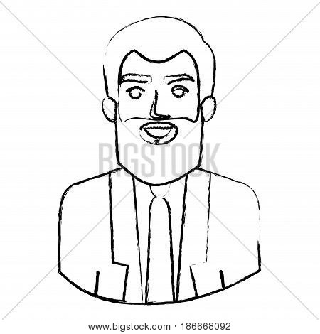 monochrome blurred contour with half body of man with beard and formal suit vector illustration