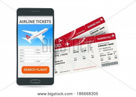 Airline tickets booking online app phone and two boarding passes. Concept of travel, journey or business. Isolated on white vector illustration.