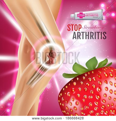 Arthritis Pain Relief Ointment ads. Vector 3d Illustration with Tube cream with strawberry extract. Poster with product's package.