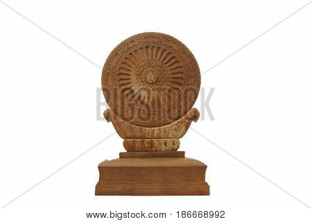 Dharma Golden color on white background Faith of Buddhism