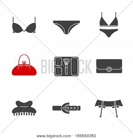 Women's accessories glyph icons set. Silhouette symbols. Underwear garters, bra and panties, clutch, purse, blusher, claw hair clip, leather belt. Vector isolated illustration